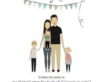 Gift Certificate For A Custom Portrait Custom Family Portrait Custom Couple Illustration Bespoke Illustration Family Gift Wedding Gift