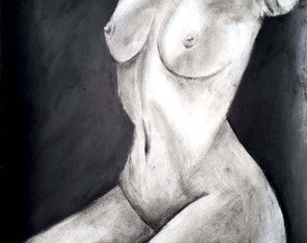 "Body Positivity Series - Charcoal 18x24"" - ""SERENE"""