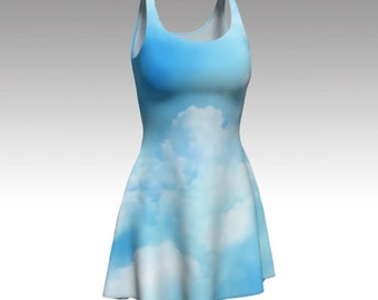 Blue Dress, Flare Dress, Skater Dress, Fit and Flare Dress, Fitted Dress, Bodycon Dress, Blue Sky, Reversible Dress, Pull On Dress, Clouds
