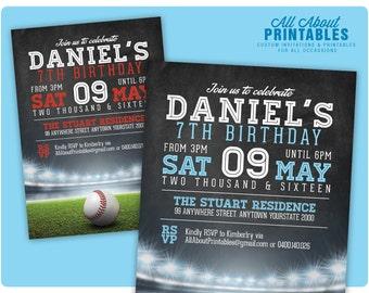 Baseball Birthday Invitation. Boy or Girl Baseball Theme Birthday Party Invite. Any Colour. Any Age. 6th 7th 8th. DIY Printable Digital