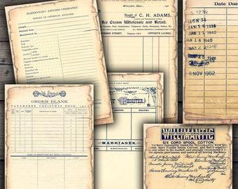 Shabby Vintage Ephemera - Ledgers, Certificates & Library Card Printables - Digital Collage Sheet Download