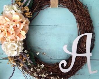 Wreath For Door, Monogram Wreath, Front Door Wreath , Summer Door Wreath, Door Wreath, Wedding Gift, Wreath With Letter, Bridal Shower Decor