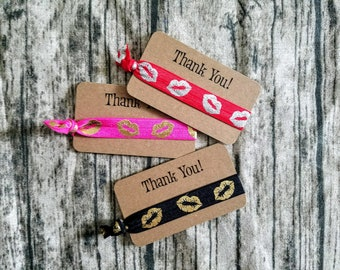 Lips/ Kisses Thank You cards with ties - your choice color- with hair ties-Perfect for Sengence, younique, avon, mary kay make up, Lipstick