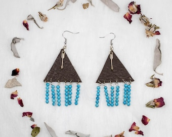 Leather + Turquoise + Arrow Earrings // Leather Triangle Earrings // Turquoise Earrings // Arrow Earrings