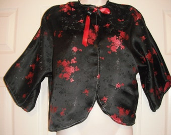 Black and red kimono silk bed jacket