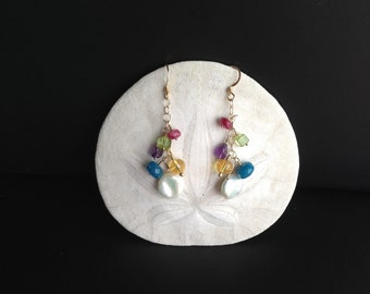 Ruby, Citrine, Peridot, Amethyst, and Apatite Multicolored Dangle Earrings
