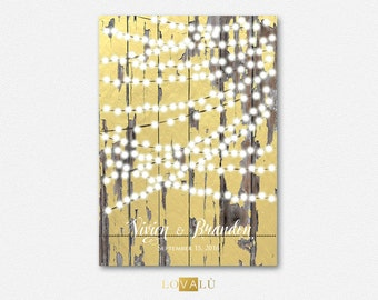 Country Wedding guest book Lights. Wedding Guestbook alternative. Choose your color and number of lights