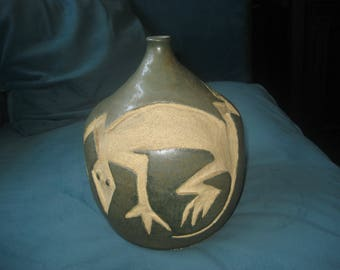 Sage Green Handmade One Flower Lizard Vase Ceramic Pottery 2001