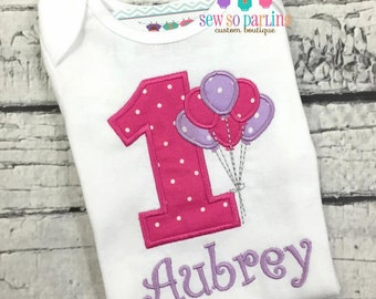 Baby Girl Birthday Outfit - Balloon Birthday Outfit - 1st Birthday Outfit - Pink purple birthday outfit - 1st birthday girl outfit purple