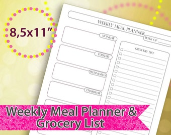 2018 Meal Planner Printable, Weekly Meal Planner,  Meal Planner 2018, Grocery List, PDF, Instant Download, Letter Size