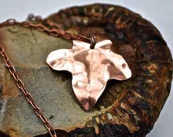 Handcrafted Solid Copper Ivy Leaf Pendant