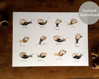 Snail Family - 5x7 Printable Art - Bookmark - Watercolor Print
