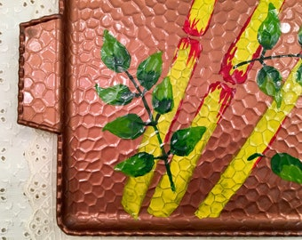 Chinoiserie Style Tray - Hammered Copper Look - Painted Asian Tray