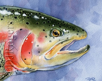Rainbow Trout Art Print - Watercolor Painting - Fly Fishing Art - Signed by Artist DJ Rogers - Wall Decor