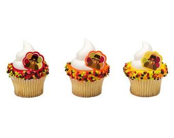 HAPPY TURKEY THANKSGIVING Cupcake Rings