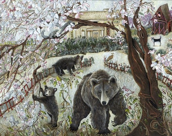 Maggie and the Three Bears Art Print from Original Acrylic Painting