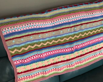 Striped Crochet Throw