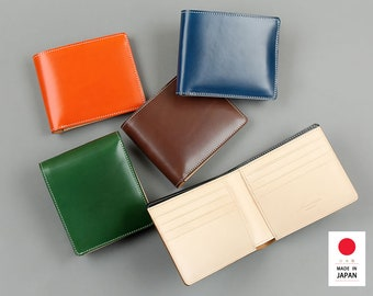 leather purse,leather bi-fold wallet,leather folded wallet,folding wallet,sophisticated,gift,comfortable,made in Japan,100% hand made