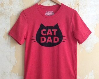 Cat T-Shirt Cat Dad, Unisex T-Shirt, Red Heather Cat T-Shirt - Limited Holiday Edition