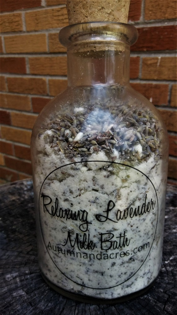 Relaxing Lavender Milk Bath in a Glass Bottle with a cork top