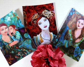 3 postcards, romantic women portrait and child