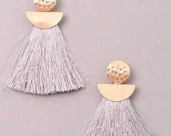 Boho Cord Fringe Statement Earrings