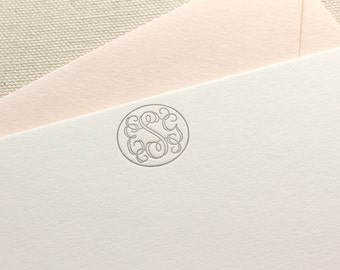 Letterpress Monogram Circle Personalized Stationery, Set of 50, note card, thank you, wedding gift, bridesmaid, gift, coworker, script S118