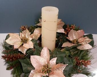 "18"" Light, Soft Pink Silk Poinsettia Wreath Painted Gold Pinecones On Faux Juniper Evergreen Holiday Winter Wedding Wall Door Window Hanger"
