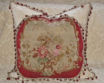 Elegant 19th Century Authentic French Aubusson Tapestry Pillow- Floral