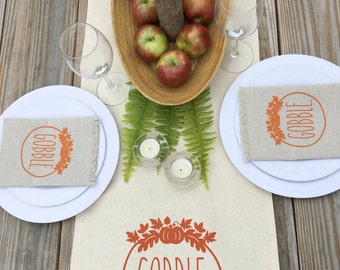 Thanksgiving Table Runner Autumn Table Runner Fall Table Runner Gobble Cotton Canvas Table Runner Farmhouse Decor Autumn Decor Fall Decor