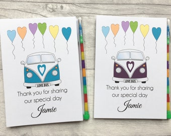 Children's Personalised Wedding Activity Colouring Pack, Favour, Gift _ Camper Van