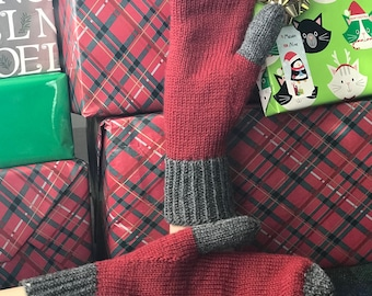 Adult Mittens, Warm Mitts, Wool Mitts, Hipster Mittens, Stylish Mittens, Red Charcoal Mittens, Hand Knit Mittens, Unique Gift, MADE TO ORDER