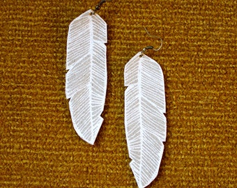 Screen Printed Leather Earrings-Gray and White