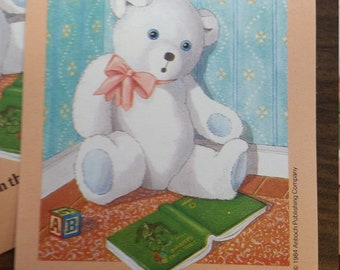 Vintage Antioch Book Plates - Teddy Bear with Book - Set of 2 Bookplates