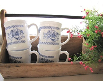 Vintage Milk Glass Coffee Mugs Cups Set of Four Blue and White French from AllieEtCie