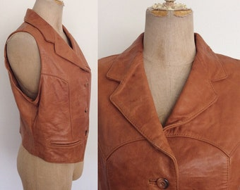 1970's Brown Leather Western Vest Size Medium to Large by Maeberry Vintage