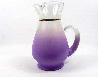 Vintage Purple Frosted Blendo Glass Pitcher,Mid century West Virginia Glass Carafe, 1960s Lilac Lavender Mod Retro Serving Pitcher