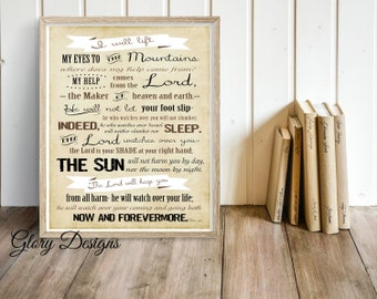 Printable, Bible Verse, Scripture art, printable wall art, Scripture printable, Psalm 121 printable, Wall Decor, My help comes from the Lord
