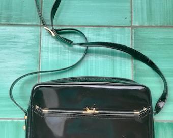 Semirigid LEATHER MINI BAG Vintage 80 'D.B.' Leather School Florence Italy Envelope Bag Woman Crossbody Bag