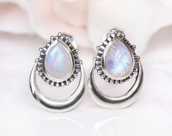 SALE! Rainbow Moonstone Studs Earring, Moonstone Post Earring, June Birthstone, Gemstone Earring, Sterling Silver Studs Earrings bg98
