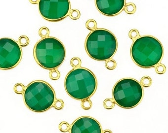 Natural Green Onyx Round Shape Bezel Connector, Gold Plated Connector, Double Bail, Jewelry Supply, GemMartUSA (GO-10206)