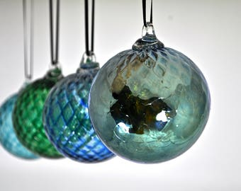 Set of Four Hand Blown Ornaments (Jewel Collection): Winter Set of Hand Blown Glass Christmas Ornaments