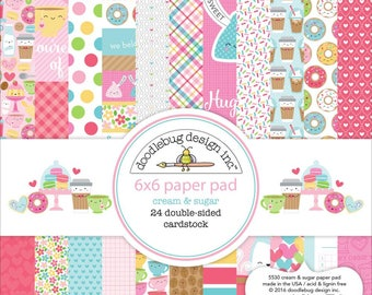 """Doodlebug Double-Sided Paper Pad 6"""" x 6"""" - Cream and Sugar - Paper, Craft, Scrapbooking, Planner"""