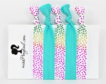 Elastic Hair Ties, Rainbow Confetti, Turquoise Blue, Handmade, Trendy, Ponytail Holders, Knotted Hair Ties, Elastic, Girl Gifts missponytail