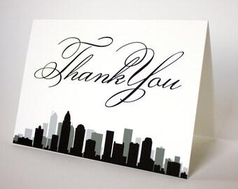 Charlotte North Carolina Thank You Card Wedding Event Skyline City Folded Sized A6 Choose Fonts