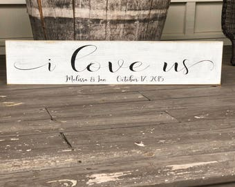 I love us, Fixer Upper inspired sign, Personalized sign, 30x7.25