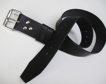 Custom Made Black Italian Leather 1.5 inch wide Belt