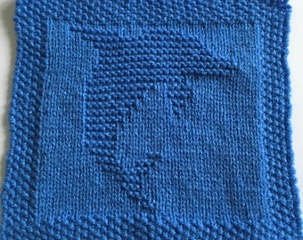 Knitting pattern for dolphin dishcloth or blanket square