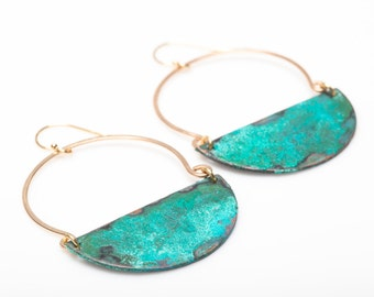 Avery Earrings - Verdigris Patina on Brass in 14 kt gold fill, sterling, oxidized sterling
