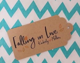 Wedding Gift Tags - Falling In Love - Customizable Personalized (WT1807)